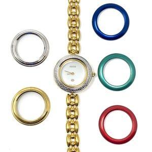 GUCCI Diamond Cut 1100L 18K Gold Watch